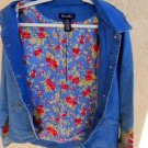 Jean Jacket Size L Large Button Front Blue Denim Floral Embroidery Lining New