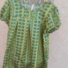 Xhilaration XXL Blouse Green Gold Polyester Satin Excellent Used EUC
