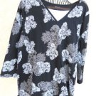 White Stag Floral Blouse XXL Plus Flowers Top Black Beige Cream New with Tags
