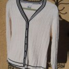 Talbots M Cardigan Sweater Career White Navy Blue Trim Cable Knit New No Tags