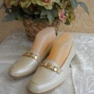 Salvatore Ferragamo Shoes 9 AAA Muted Gold Calf Leather Signature Loafers EUC