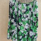 Charter Club Shirt 3X Floral 3/4 Sleeves Sheer Top Plus Career Green Multi New