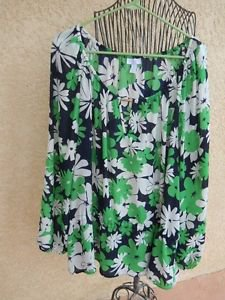 Charter Club Shirt 3X Floral 3/4 Sleeves Sheer Top Plus Career Green Multi New