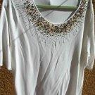 Alain Weitz Sweater 3X Rayon Beaded Embellished Rhinestones Short Sleeves EUC