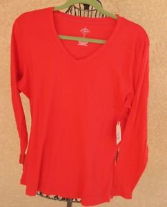 St. John's Bay XL Blouse Soft Stretch Knit Top Long Sleeves Bittersweet Berry