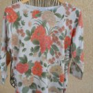 White Stag Spring Sweater XL Long Sleeves Floral Apricot Green Gently Used Good