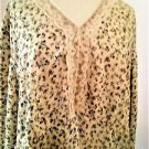 Venezia 22 24 Shirt Beige Long Princess Style Sleeves Top Floral Excellent EUC
