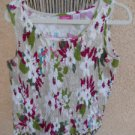Papagallo Petite PL Smocked Cream Burgundy Floral Tank Top New Without Tags