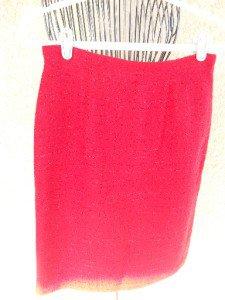 Judith Hart Size 8 Pencil Skirt Knee Long Red Silver Metallic Machine Wash EUC
