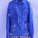 Blue Denim Jean Jacket XS Floral Embroidery Blazer Chest Pockets New Excellent
