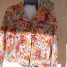 Liz Claiborne Medium Size Jacket M Floral Velvet Zipper Pockets Flowers New NWOT