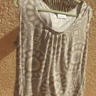 Avenue 22W 24W Blouse Beige Top Plus Size Career T Shirt Short Sleeves Stretchy