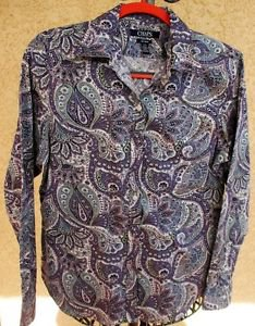CHAPS Ralph Lauren L Shirt No Iron Top purple Floral Paisley Long Sleeves New