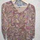 CHAPS M Sweater Medium Paisley Pring Brown Green Beige Long Sleeves Used Once