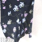 Ann Taylor LOFT Silk Skirt 6 Floral Black White Pink Green Lined Used Excellent