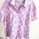 Butterfly Label Shirt 30 32W Striped Silver Threads Cotton Stretch Snap Buttons