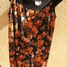 KSL Cap Sleeves Floral Dress 16 W Slinky Stretchy Multi Color Wrinkle Free Used