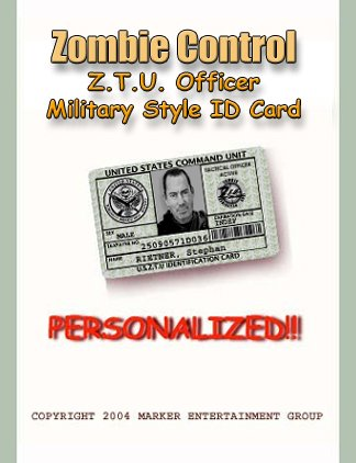 """ZOMBIE HUNTER  Military style """"Green"""" Personalized ID"""