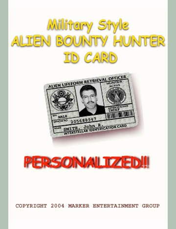 """AREA-51 Novelty Personalized """"Alien Retrieval"""" Military """"Green""""  ID Card"""