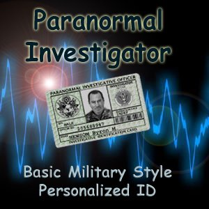 """PARANORMAL INVESTIGATOR"" Military Style Basic Green  ID Card"