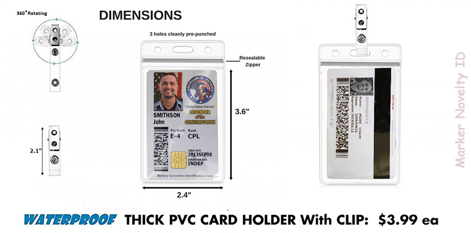 Waterproof Thick PVC Card Holder and Clip