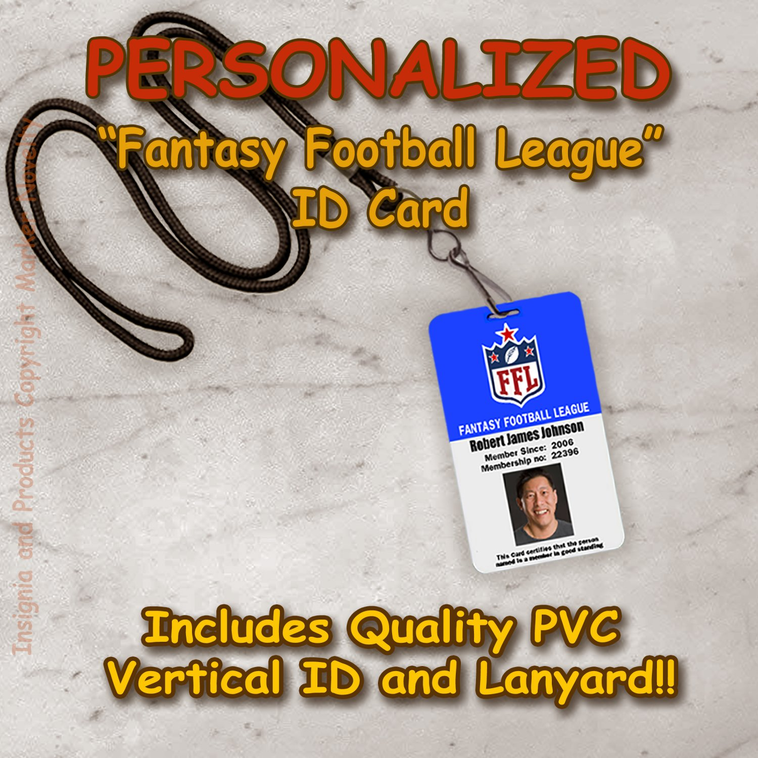 Personalized Fantasy Football League Quality Vertical PVC Photo Id and Lanyard Set NFL