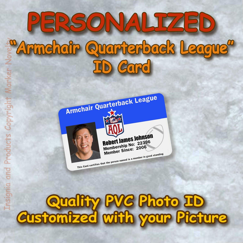 """ARMCHAIR QUARTERBACK LEAGUE""  Quality PVC Photo Id Card NFL"