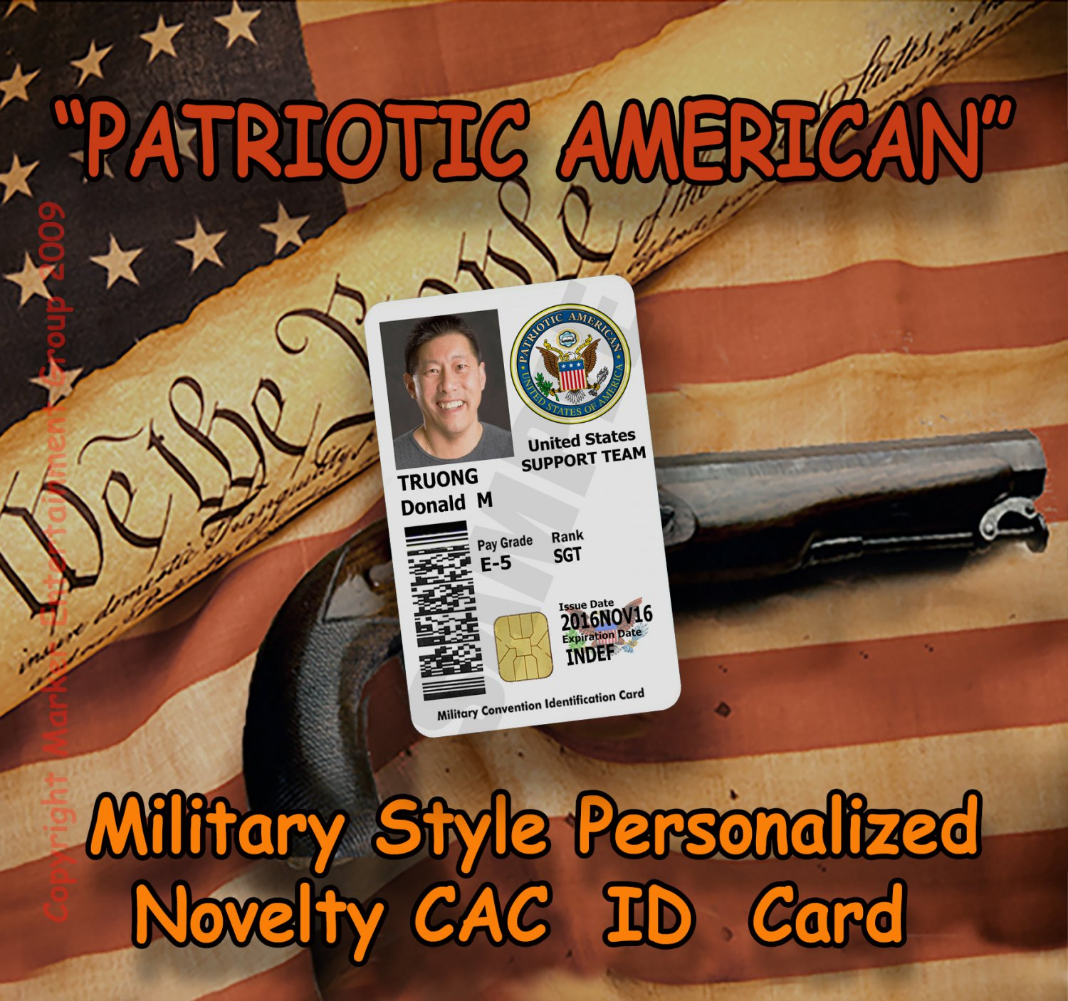 """Patriotic American"" Novelty Military CAC Style Personalized Novelty ID Card"