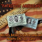 Patriotic American Novelty BASIC Military Style Personalized Novelty ID Card