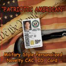 """American Patriot"" Military Style Personalized  CAC  ID card"