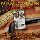 American Patriot Service Member Novelty Military CAC Style Personalized Novelty ID Card