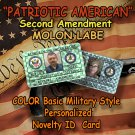 "PERSONALIZED ""Molon Labe: SECOND AMENDMENT"" Novelty Basic Military Style ID Card"