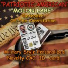 """""""PATRIOTIC AMERICAN: Molon Labe"""" Novelty Military Style CAC Personalized ID Card"""