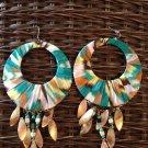 multi colored fabric covered hoop earrings