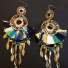 Multiple colored fabric covered fashion costume earrings