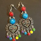 Multi colored Tibetan style earrings silver vintage