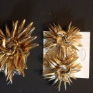 Star burst gold tone costume earring and ring set