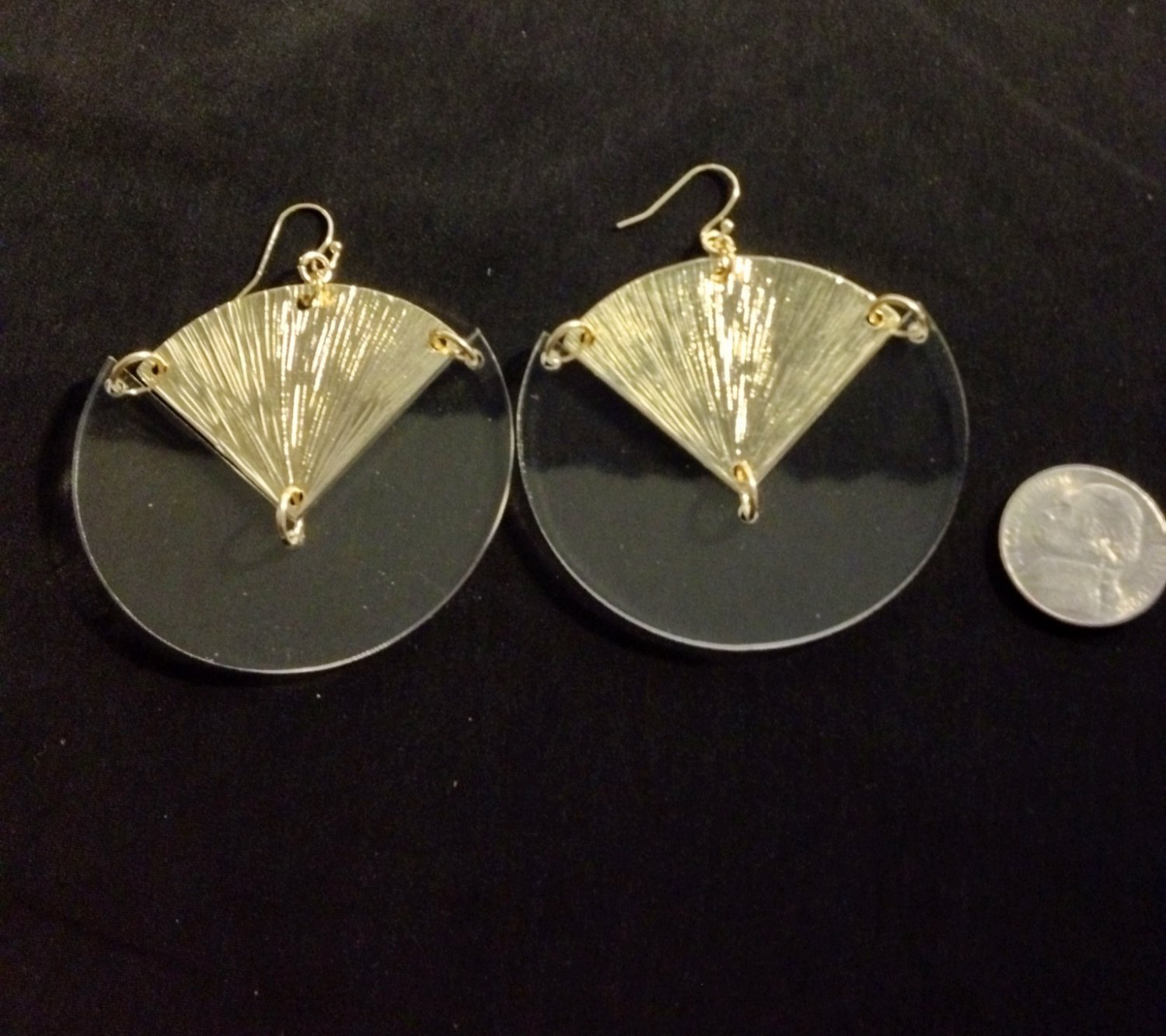 Clear and gold fashion earrings