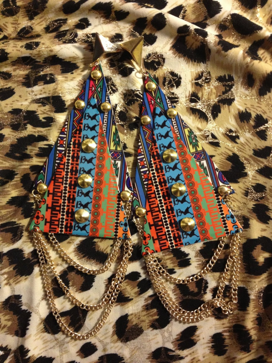 Tribal print mega triangle fashion earrings