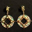 Round print open diamond gold fashion earring