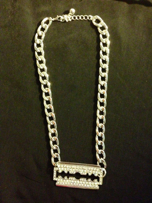 Fashion diamond razor blade big link silver necklace