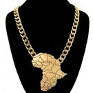 Map of Africa necklace in gold tone