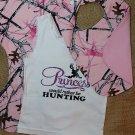 Princess Hunting Tank Top with Pink Camo  Burp Cloth, Bib Set