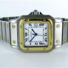 GENTS CARTIER SANTOS 18KT YELLOW GOLD & STAINLESS STEEL AUTOMATIQUE WATCH