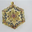 18KT YELLOW GOLD PENDANT CHARM SAPPHIRE ITALY PIN BROOCH SNOWFLAKE VINTAGE