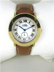 LADIES CARTIER MUST DE WATCH 18KT GOLD PLATED 925 STERLING SILVER LEATHER BAND