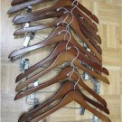 LOT SET 12 MAHOGANY HANGERS WOOD CHERRY PANTS CLIPS HEAVY DUTY CLOSET EXECUTIVE