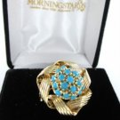 14K YELLOW GOLD PIN BROOCH FLOWER TURQUOISE BLUE STONES 6.0DWT VINTAGE RETRO
