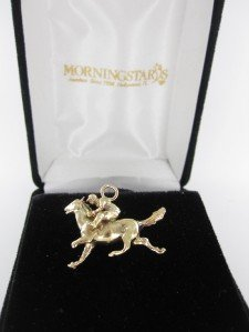 14K YELLOW GOLD PENDANT JOCKEY HORSE RIDE ANIMAL RACE POLO DERBY 6.2DWT CHARM