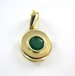 18KT YELLOW GOLD PENDANT COLOMBIAN EMERALD 1CT ROUND 2.3GRAMS FINE JEWELRY JEWEL